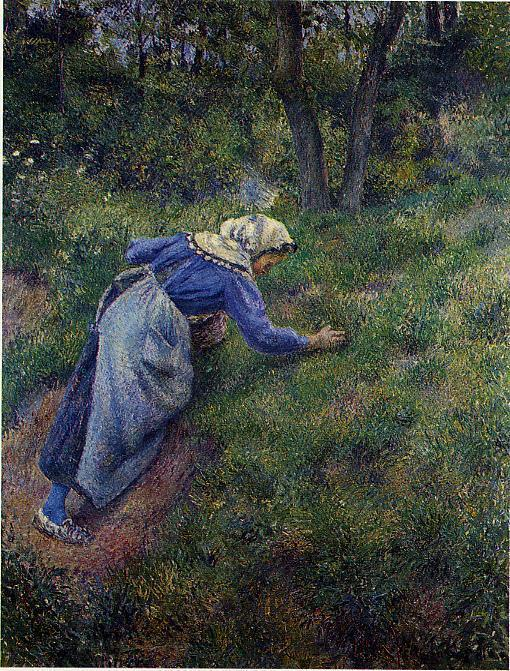 famous painting Peasant Gathering Grass of Camille Pissarro