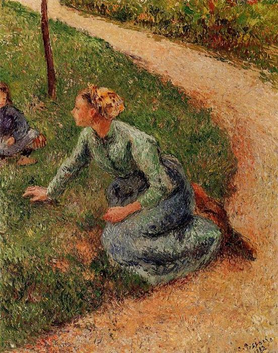 famous painting Peasant Trimming the Lawn of Camille Pissarro