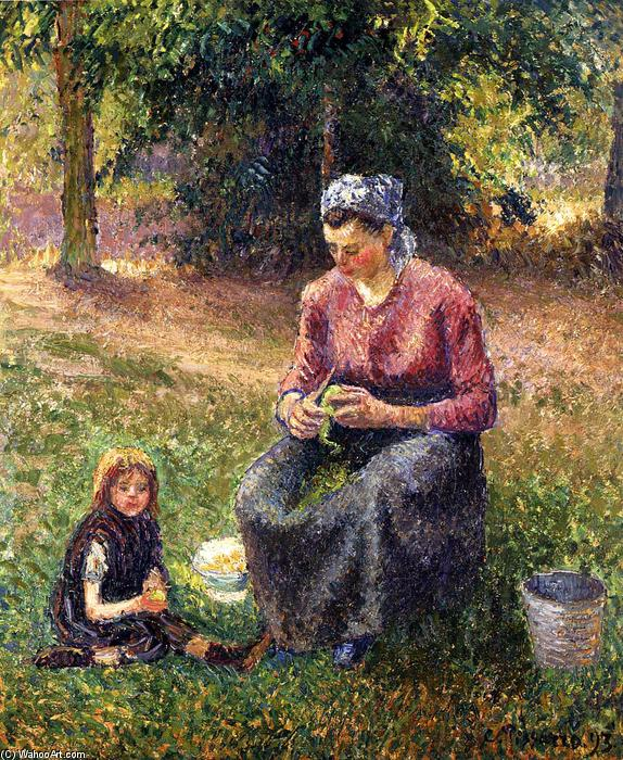 famous painting Peasant Woman and Child, Eragny of Camille Pissarro