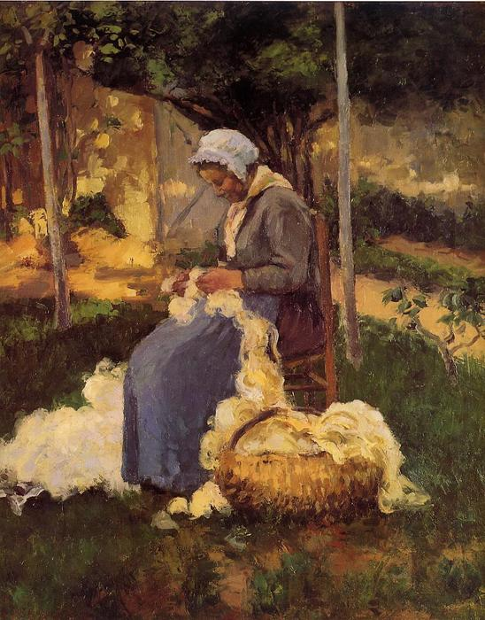 famous painting Peasant Woman Carding Wool of Camille Pissarro
