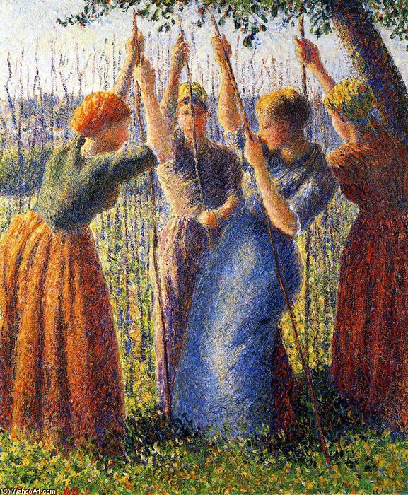 famous painting Peasant Women Planting Stakes of Camille Pissarro