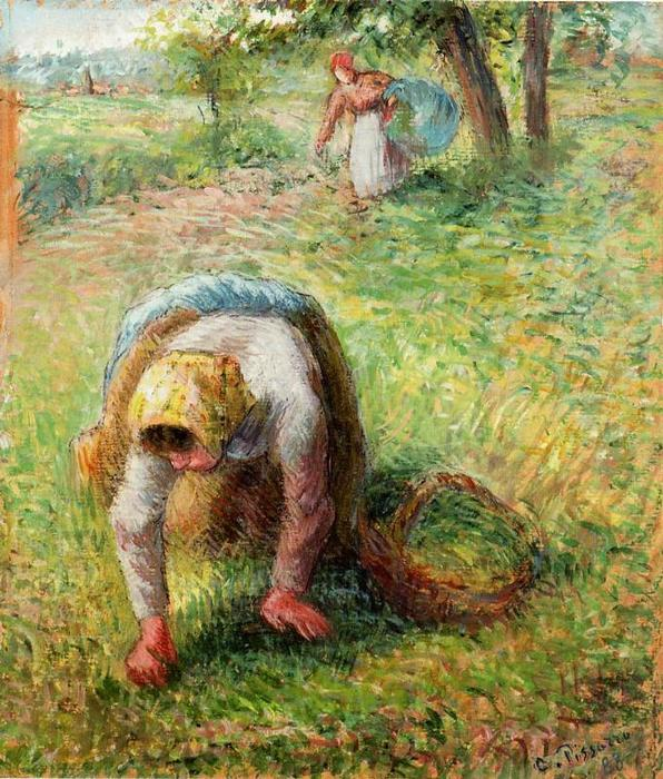 famous painting Peasants Gathering Grass of Camille Pissarro