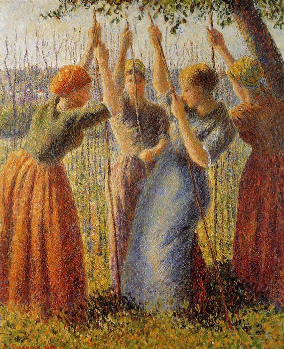 famous painting Peasants Planting Pea Sticks of Camille Pissarro