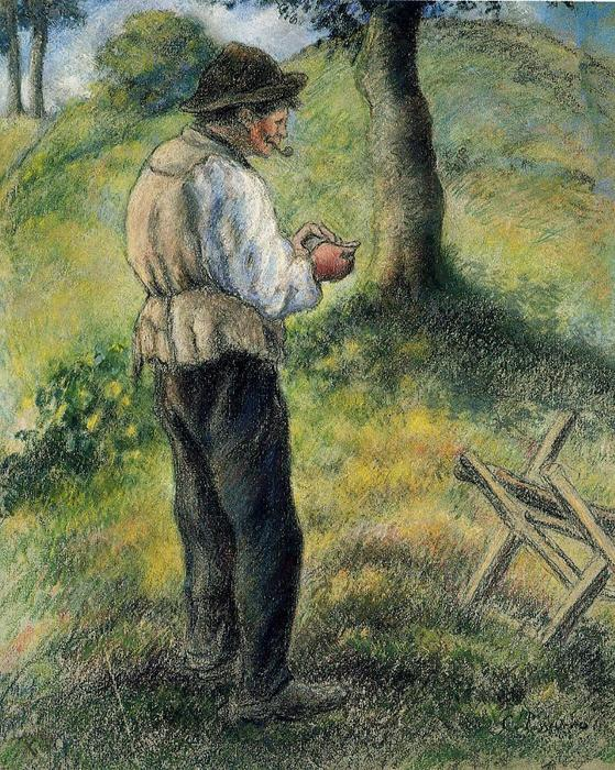 famous painting Pere Melon Lighting His Pipe of Camille Pissarro
