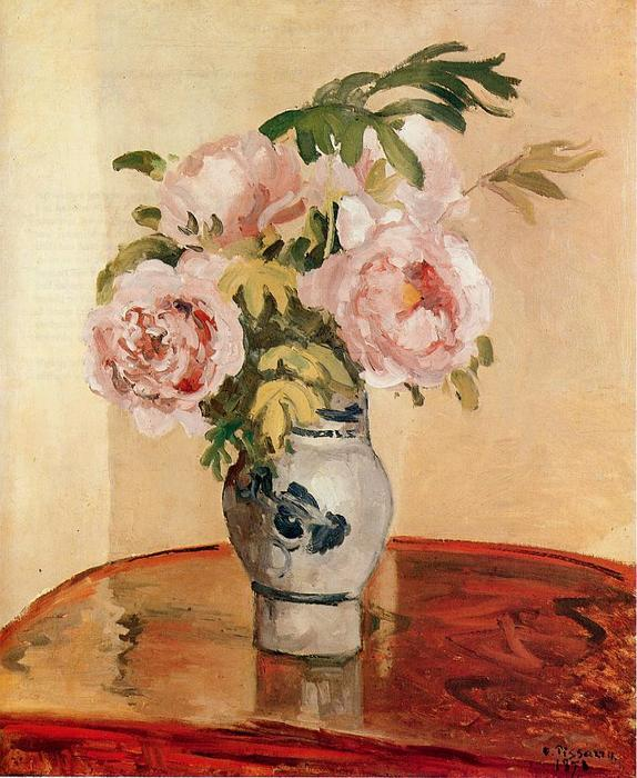 famous painting Pink Peonies of Camille Pissarro