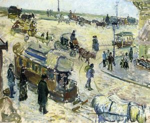 Camille Pissarro - Place de la Republique, Rouen (with Tramway)
