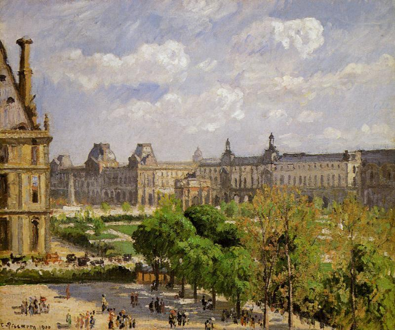 famous painting Place du Carrousel, the Tuileries Gardens of Camille Pissarro