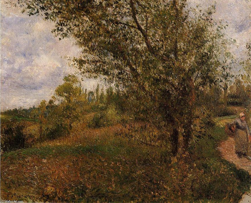 famous painting Pontoise Landscape, Through the Fields of Camille Pissarro
