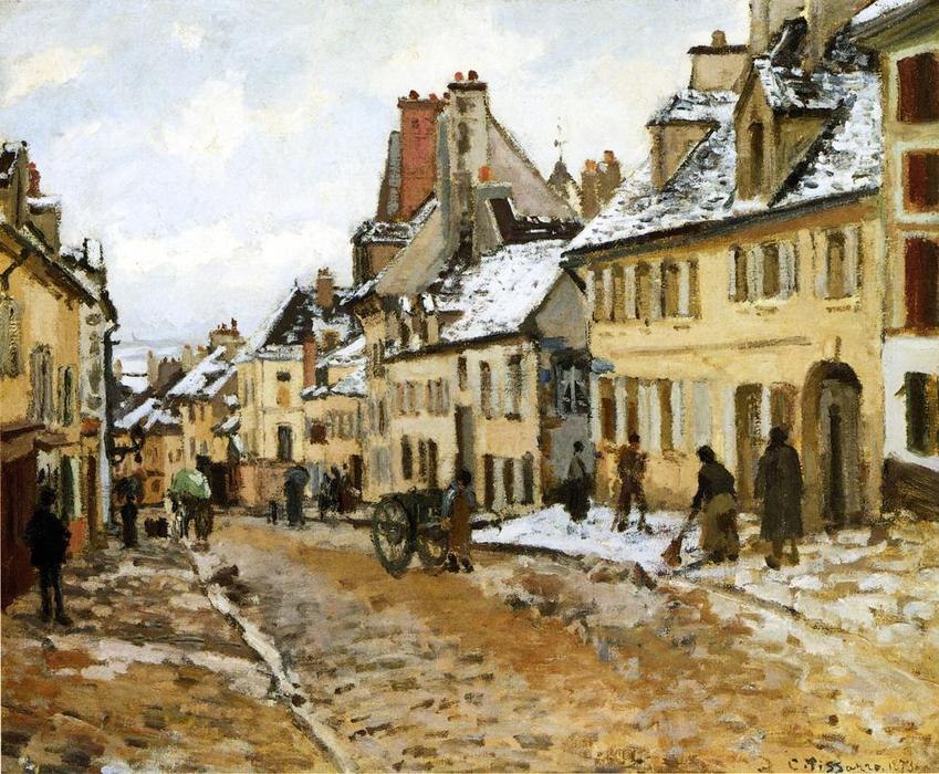 famous painting Pontoise, the Road to Gisors in Winter of Camille Pissarro