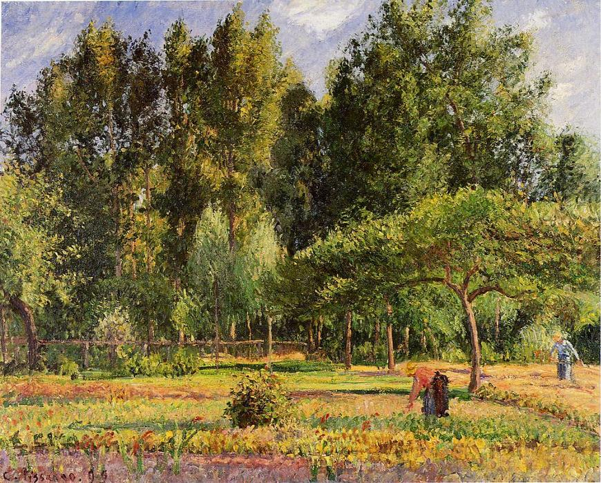famous painting Poplars, Afternoon in Eragny of Camille Pissarro