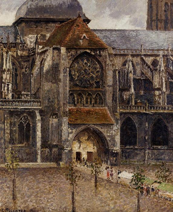 famous painting Portal from the Abbey Church of Saint Laurent of Camille Pissarro