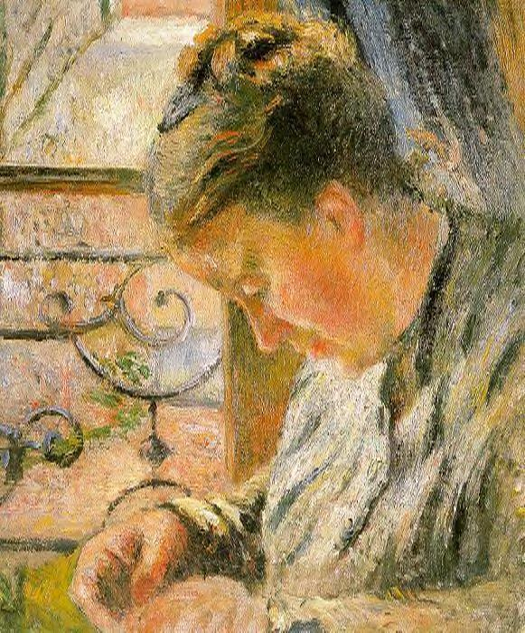 famous painting Portrait of Madame Pissarro Sewing near a Window of Camille Pissarro