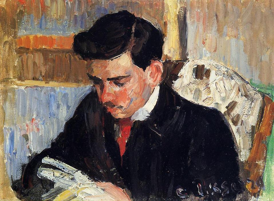 famous painting Portrait of Rodo Pissarro Reading of Camille Pissarro