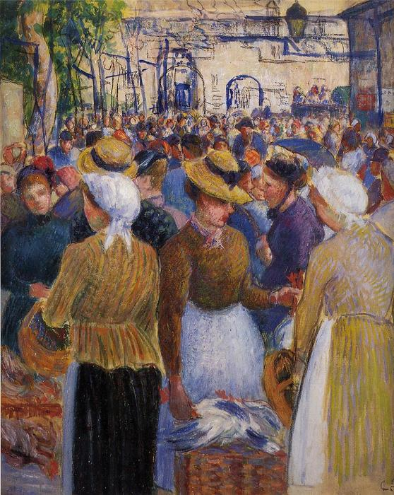 famous painting Poultry Market at Gisors of Camille Pissarro