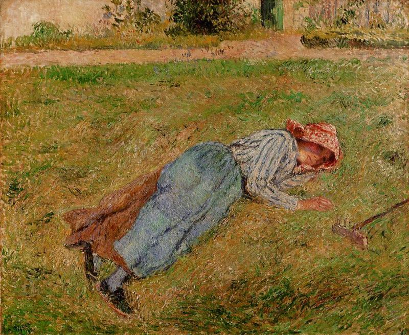 famous painting Resting, Peasant Girl Lying on the Grass, Pontoise of Camille Pissarro