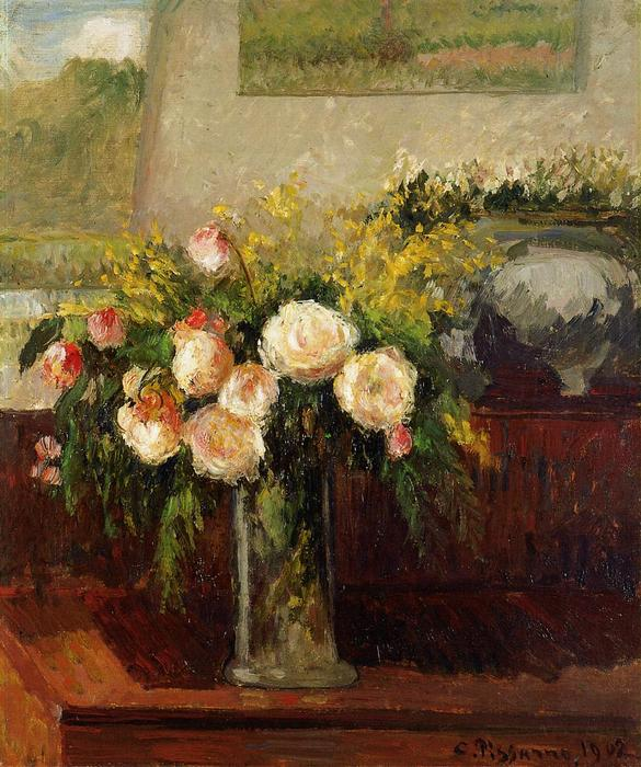 famous painting Roses of Nice of Camille Pissarro