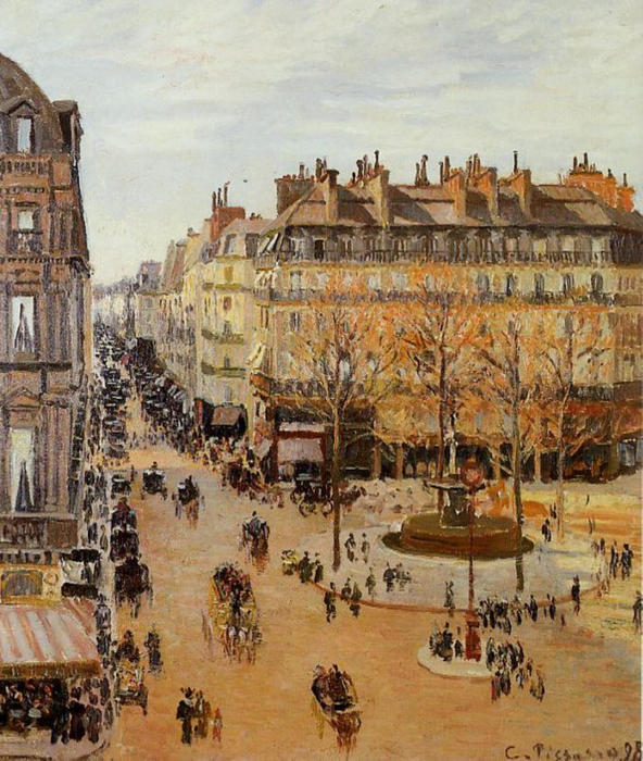 famous painting Rue Saint-Honore, Sun Effect, Afternoon of Camille Pissarro