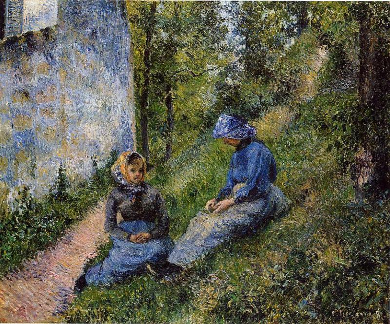 famous painting Seated Peasants, Sewing of Camille Pissarro