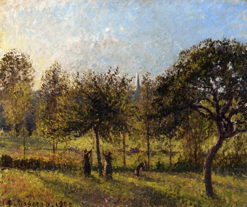 famous painting Setting Sun, Autumn in Eragny of Camille Pissarro
