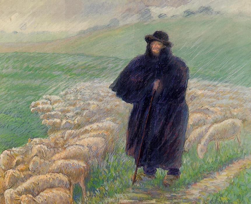 famous painting Shepherd in a Downpour of Camille Pissarro