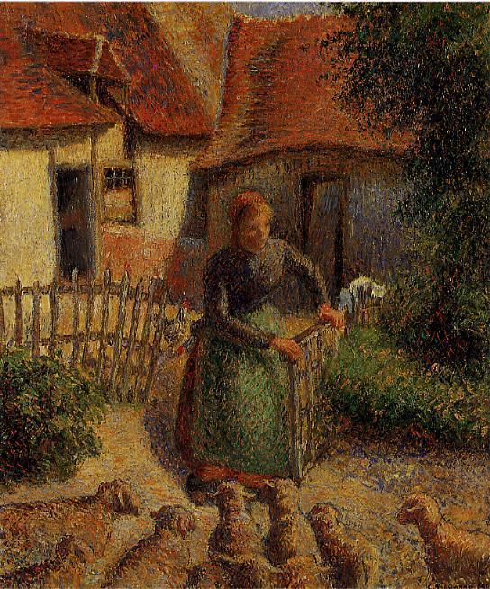 famous painting Shepherdess Bringing in the Sheep of Camille Pissarro