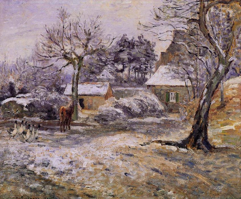 famous painting Snow at Montfoucault of Camille Pissarro