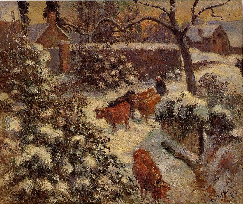 famous painting Snow Effect in Montfoucault of Camille Pissarro