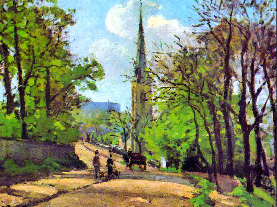 famous painting St. Stephen's Church, Lower Norwood of Camille Pissarro