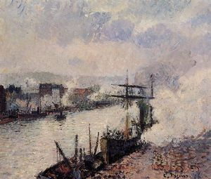Camille Pissarro - Steamboats in the Port of Rouen