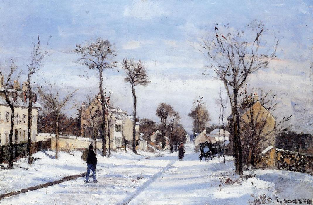 famous painting Street in the Snow, Louveciennes of Camille Pissarro