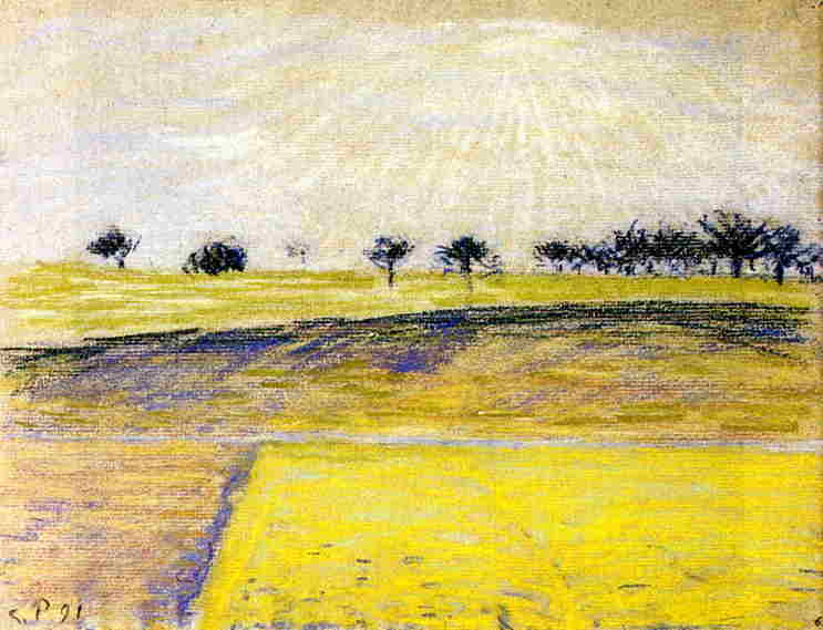 famous painting Sunrise over the Fields, Eragny of Camille Pissarro