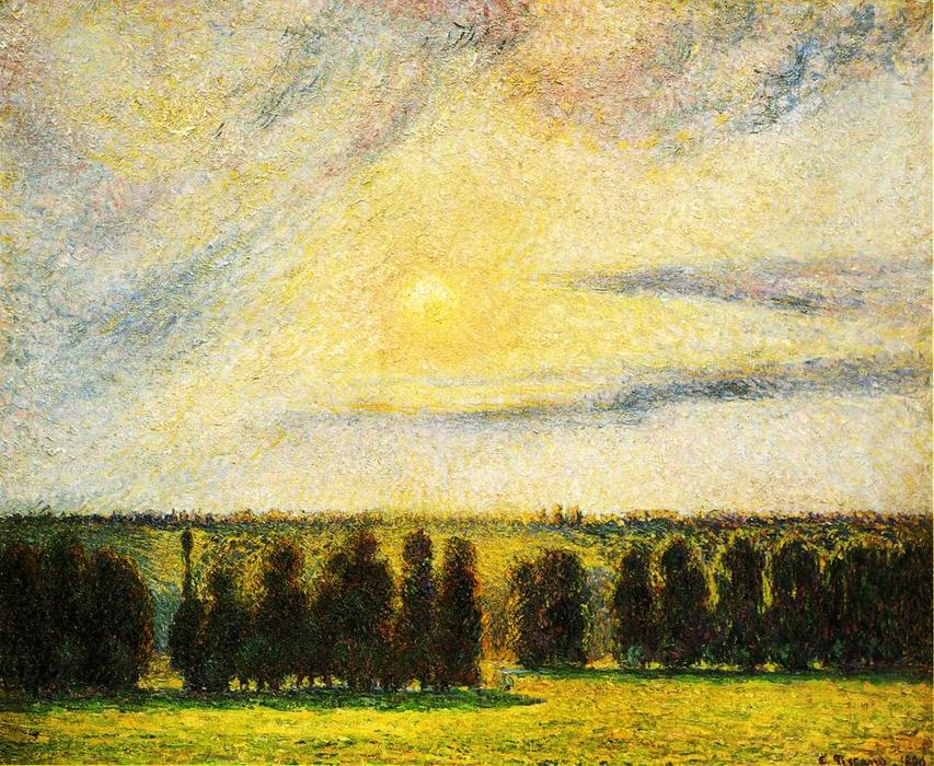 famous painting Sunset at Eragny of Camille Pissarro
