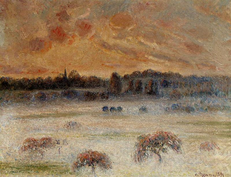 famous painting Sunset with Fog, Eragny of Camille Pissarro