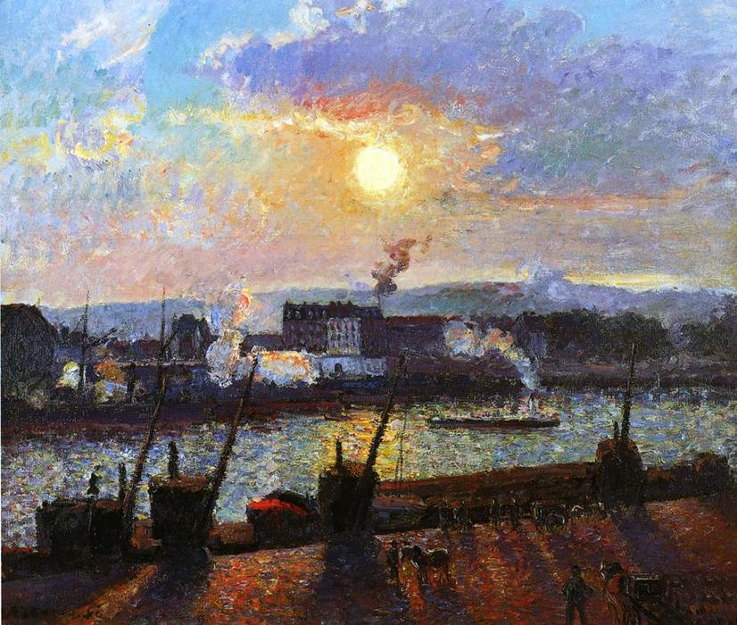 Buy Museum Art Reproductions Impressionism | Sunset, Rouen by Camille Pissarro | TopImpressionists.com