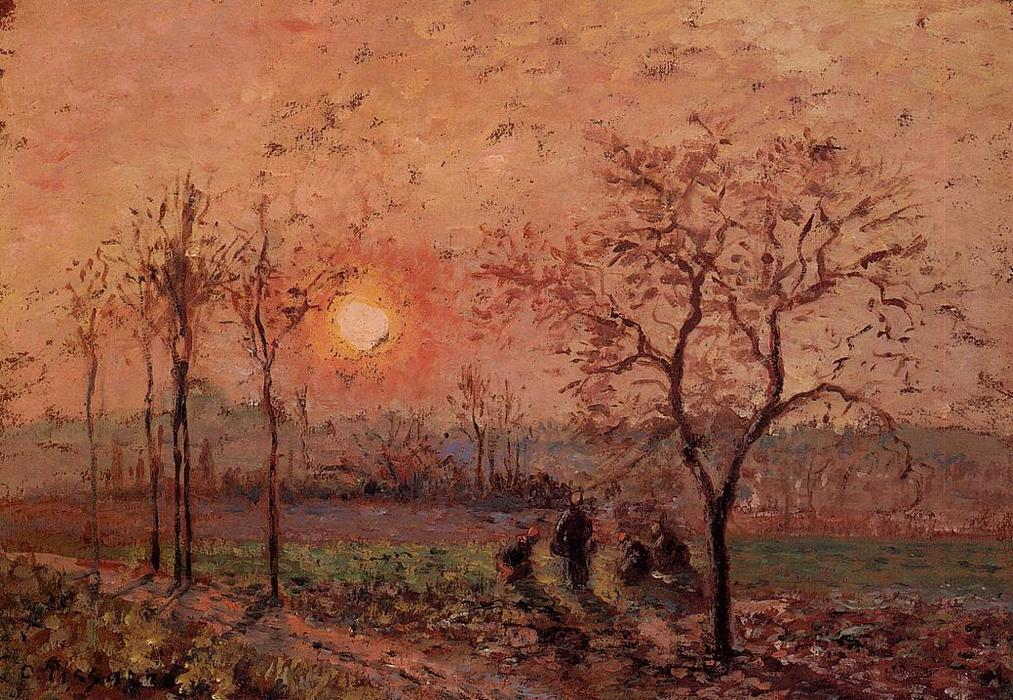 famous painting Sunset of Camille Pissarro