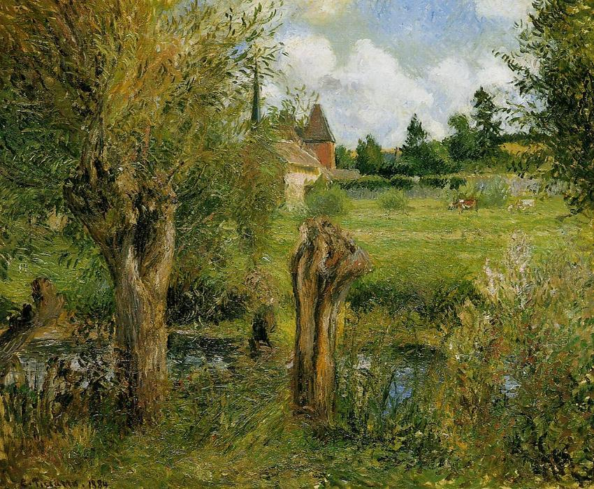 famous painting The Banks of the Epte at Eragny of Camille Pissarro