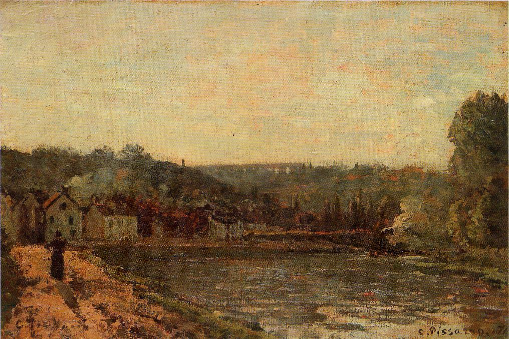 famous painting The Banks of the Seine at Bougival of Camille Pissarro
