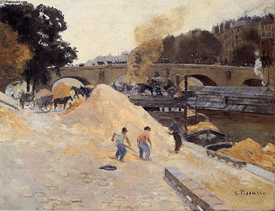 famous painting The Banks of the Seine in Paris, Pont Marie, Quai d'Anjou of Camille Pissarro
