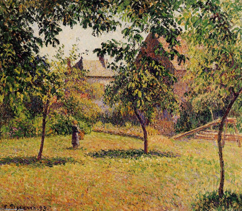 famous painting The Barn, Morning, Eragny of Camille Pissarro