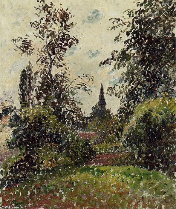 famous painting The Bazincourt Steeple (study) of Camille Pissarro