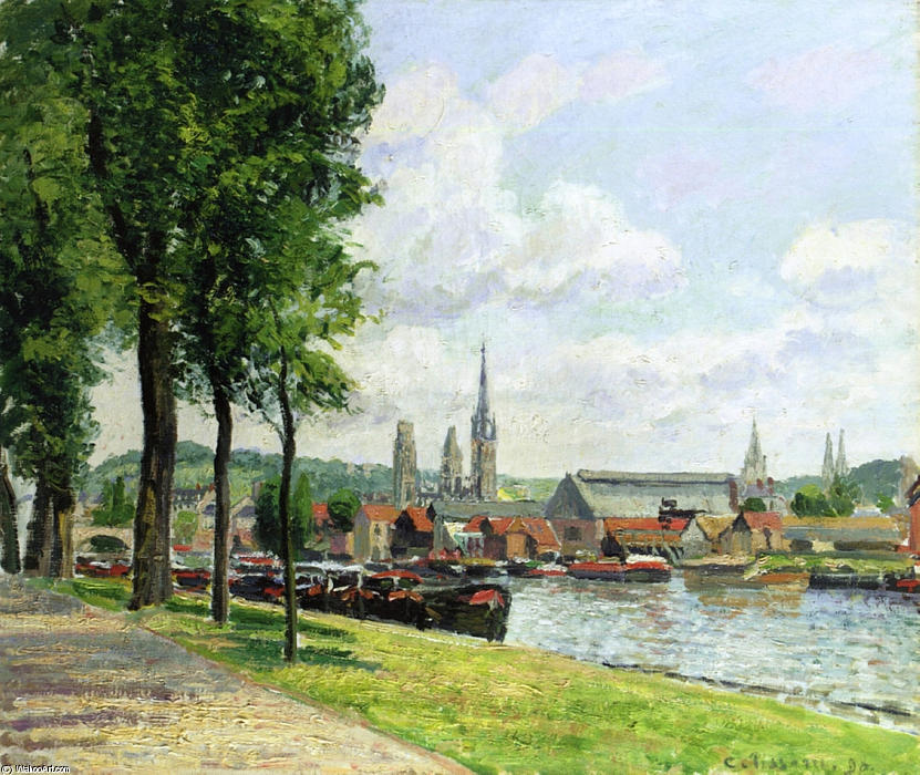 famous painting The Cours la Riene, The Notre Dame Cathedral, Rouen of Camille Pissarro