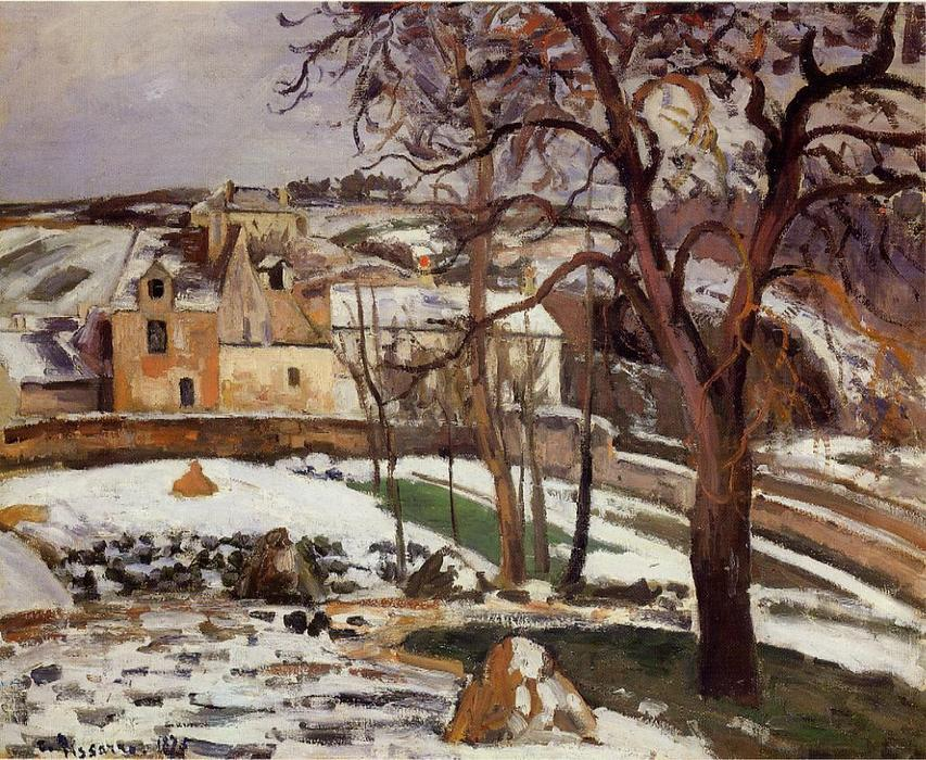 famous painting The Effect of Snow at l'Hermitage, Pontoise of Camille Pissarro