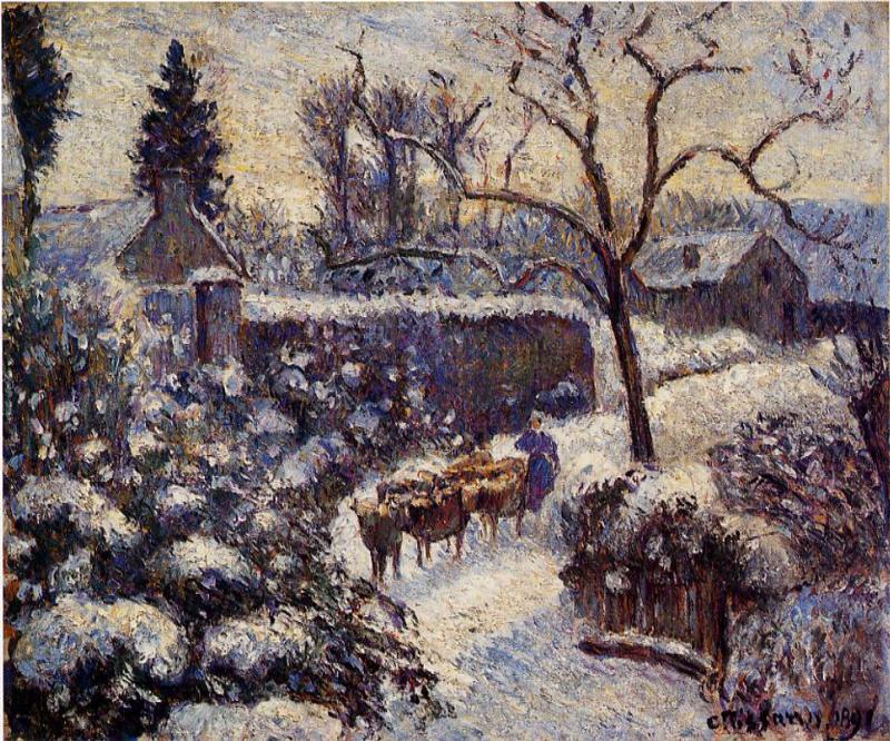 famous painting The Effect of Snow at Montfoucault of Camille Pissarro