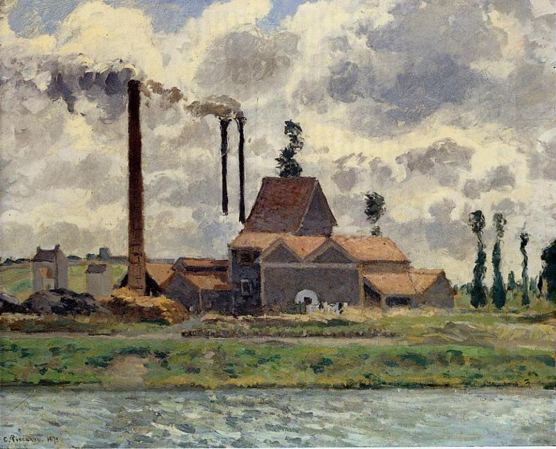 famous painting The Factory of Camille Pissarro