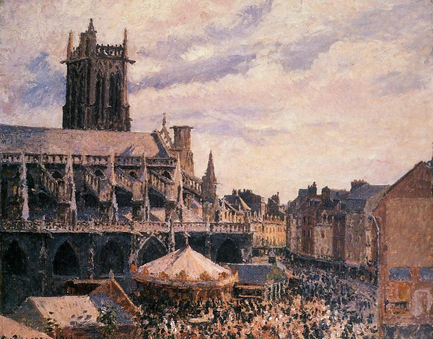 famous painting The Fair by the Church of Saint Jacques, Dieppe of Camille Pissarro