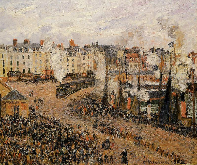 famous painting The Fishmarket, Dieppe of Camille Pissarro