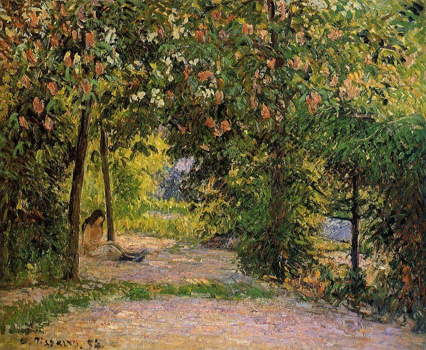famous painting The Garden in Spring, Eragny of Camille Pissarro