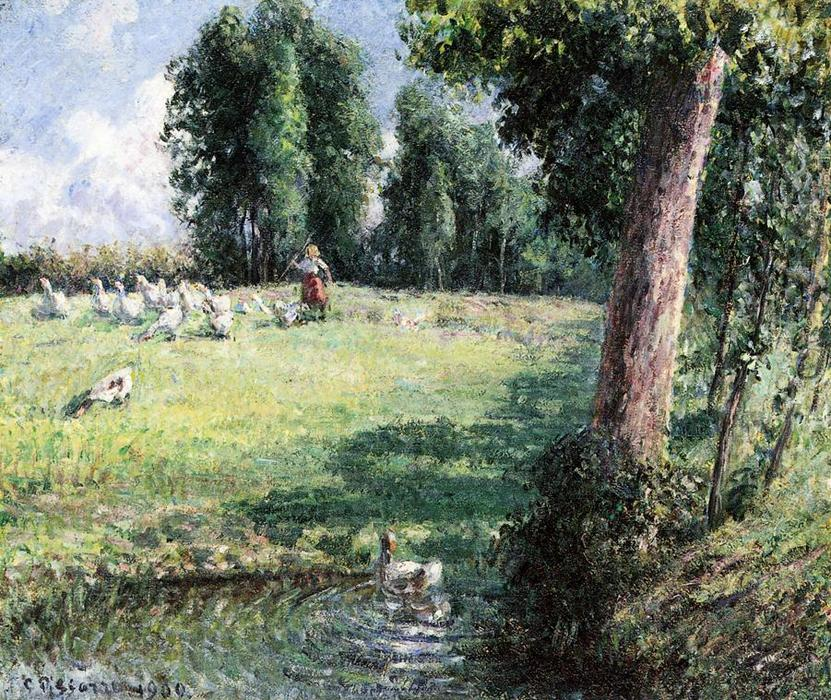 famous painting The Goose Girl of Camille Pissarro