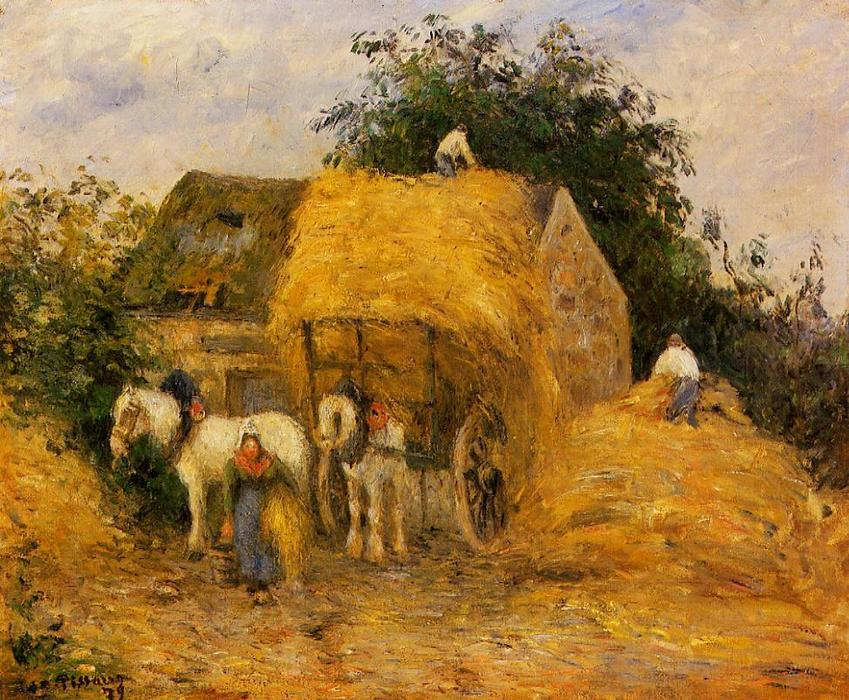 famous painting The Hay Wagon, Montfoucault of Camille Pissarro