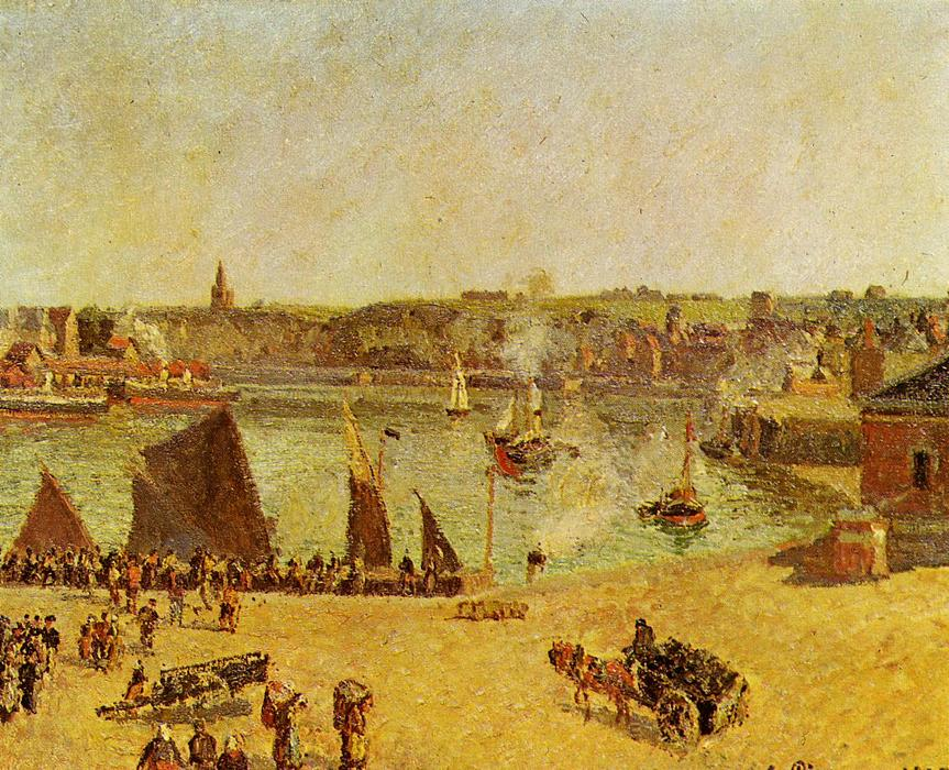 famous painting The Inner Harbor, Dieppe of Camille Pissarro